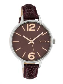 Burgundy Croco Leather Strap